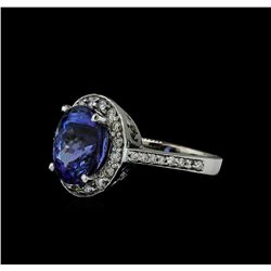5.03 ctw Tanzanite and Diamond Ring - 14KT White Gold