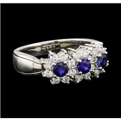 0.56 ctw Sapphire and Diamond Ring - Platinum