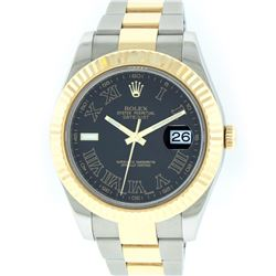 Rolex Two-Tone Black Roman DateJust Men's Watch