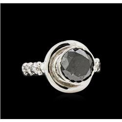 14KT White Gold 2.72 ctw Black & White Diamond Ring