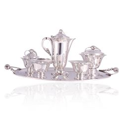 Tango Aceves blossom Sterling Tea & Coffee Service