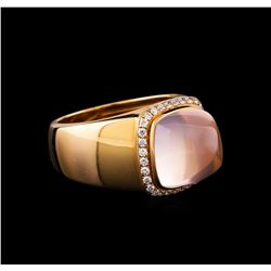 Fred of Paris Pain De Sucre Rose Quartz and Diamond Ring - 18KT Pink Gold