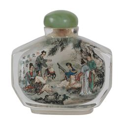 "Large, Vintage Chinese Reverse Painted Snuff Bottle ""Musical Gathering"""