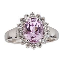 2.89 ctw Kunzite and Diamond Ring - 14KT White Gold