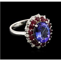 4.20 ctw Tanzanite, Ruby and Diamond Ring - 14KT White Gold