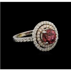 2.30 ctw Pink Tourmaline and Diamond Ring - 14KT White Gold