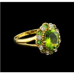 2.24 ctw Peridot, Tsavorite and Diamond Ring - 10KT Yellow Gold