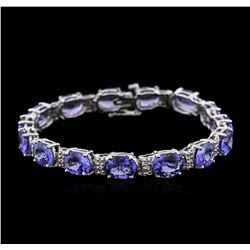14KT White Gold 27.90 ctw Tanzanite and Diamond Bracelet
