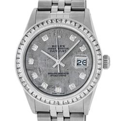 Rolex Mens Stainless Steel Meteorite Princess Cut Diamond Datejust Wristwatch