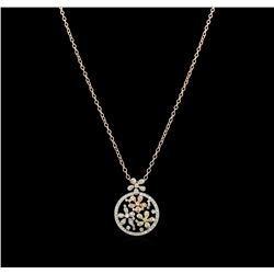 2.01 ctw Diamond Pendant With Chain - 14KT Tri Color Gold