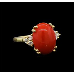 14KT Yellow Gold 6.25 ctw Coral and Diamond Ring