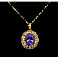 4.35 ctw Tanzanite and Diamond Pendant With Chain - 14KT Yellow Gold