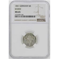 1841 Germany Baden 6 Kreuzer Coin NGC MS65