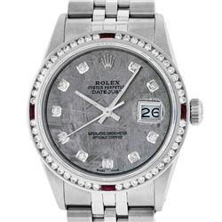 Rolex Mens Stainless Steel Meteorite Diamond & Ruby Datejust Wristwatch