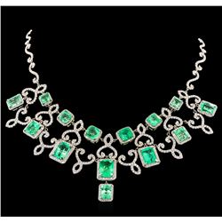 45.43 ctw Emerald and Diamond Necklace - 18KT White Gold