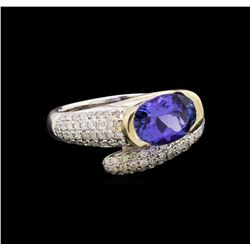 14KT Two-Tone Gold 1.99 ctw Tanzanite and Diamond Ring