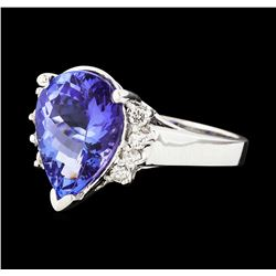 4.56 ctw Tanzanite and Diamond Ring - 14KT White Gold