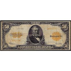 1922 $50 Gold Certificate Note