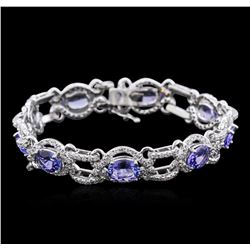 14KT White Gold 9.85 ctw Tanzanite and Diamond Bracelet