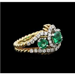 1.87 ctw Emerald and Diamond Ring - 18KT Yellow Gold