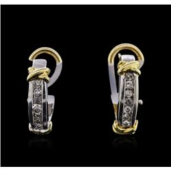 14KT Two-Tone Gold 0.22 ctw Diamond Earrings