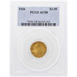 1926 $2 1/2 Indian Head Quarter Eagle Gold Coin PCGS AU58