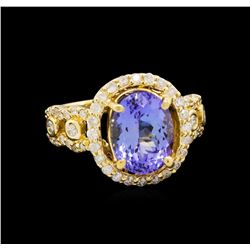 14KT Yellow Gold 3.43 ctw Tanzanite and Diamond Ring