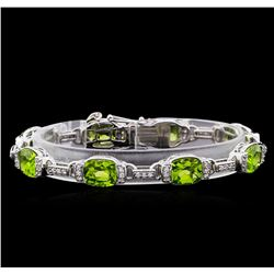 Crayola 20.00 ctw Peridot and White Sapphire Bracelet - .925 Silver