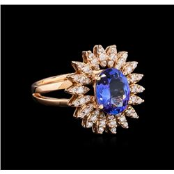 1.93 ctw Tanzanite and Diamond Ring - 14KT Rose Gold