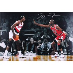 "Michael Jordan Signed LE Bulls ""Faceoff Vs. Drexler"" 16x24 Photo (UDA COA)"