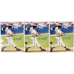 "Lot of (3) Dale Murphy Signed Braves 16x20 Photos Inscribed ""NL MVP 82, 83"" (Radtke COA)"