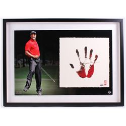 Tiger Woods Signed LE 21x30 Custom Framed Tegata Handprint Display (UDA COA)