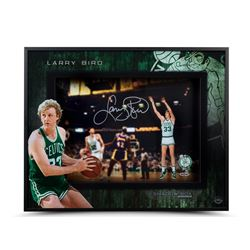 "Larry Bird Signed Celtics ""East vs. West"" 20x16x2 Custom Framed Shadow Box (UDA COA)"