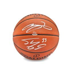 LeBron James  Shaquille O'Neal Dual-Signed Basketball LE of 33 (UDA COA)