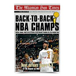 LeBron James Signed Heat Front Page News 16x24 Photo (UDA COA)