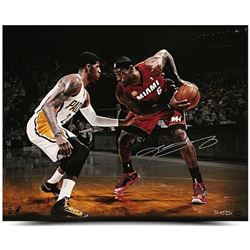 LeBron James Signed Heat Match Up 16x20 Photo vs. Paul George LE 50 (UDA COA)