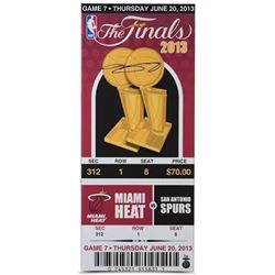 "LeBron James Signed Heat ""2013 Finals Game 7 Mega Ticket"" LE 14x33 Canvas (UDA COA)"