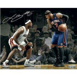 "LeBron James Signed Heat ""Match-Up vs Carmello Anthony"" 16x20 Photo (UDA COA)"