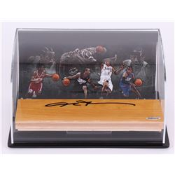Allen Iverson Signed 76ers Game Used Floor Piece Display with LE 8x10 photo (UDA COA)