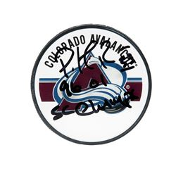 "Patrick Roy Signed Avalanche Logo Hockey Puck Inscribed ""96 01 SC Champ"" (UDA COA)"