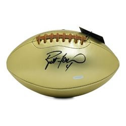 Brett Favre Signed Gold Leather Football (UDA COA)
