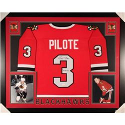"Pierre Pilote Signed Blackhawks 35x43 Custom Framed Jersey Inscribed ""H.O.F. 75"" (JSA Hologram)"