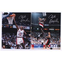 Lot of (2) Clyde Drexler Signed 8x10 Photos (Schwartz COA)