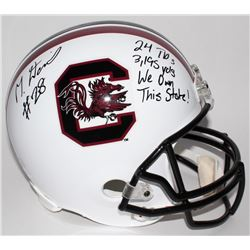 Mike Davis Signed South Carolina Gamecocks Full-Size Helmet With Career Stat Inscriptions (Radtke CO