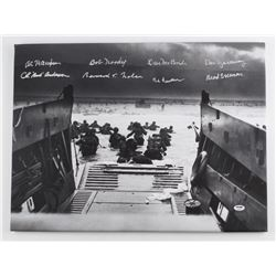 "WWII D-Day 24"" x 18"" Photo on Canvas Signed by (8) Survivors with Bud Anderson, Al Mampre, Bob Noody"