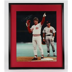 "Pete Rose Signed Reds 21.5x25.75 Custom Framed Photo Display Inscribed ""#4192"" (JSA COA)"