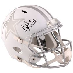Dak Prescott Signed Cowboys Custom Matte White Speed Ice Full-Size Helmet (Fanatics)
