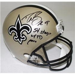 "Drew Brees Signed Saints Full-Size Helmet Inscribed ""54 Straight W/ TD Pass"" (Brees Hologram  Radtke"