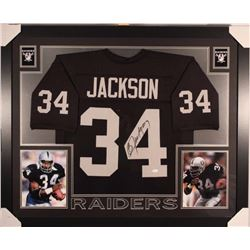 "Bo Jackson Signed Raiders 35"" x 43"" Custom Framed Jersey (JSA COA)"