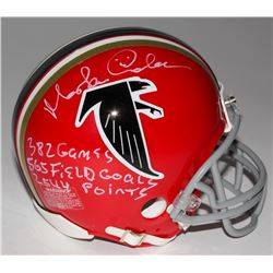"Morten Andersen Signed Falcons Mini Helmet Inscribed ""382 Games"", ""565 Field Goals"",  ""2544 Points"""